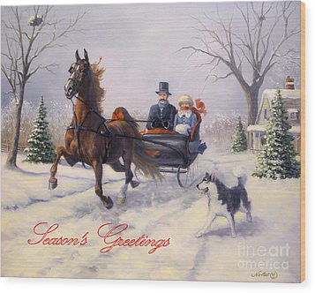 Dashing Through The Snow Wood Print by Jeanne Newton Schoborg