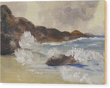 Wood Print featuring the painting Dashing Waves by Trilby Cole