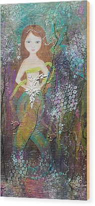 Daughter Of The Sea Wood Print by Virginia Coyle