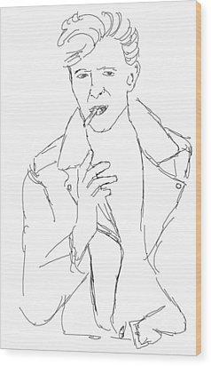 David Bowie Wood Print by Angela Murray