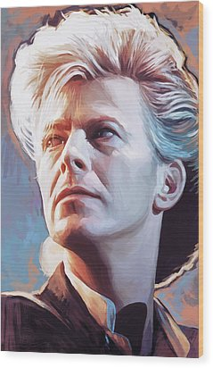 Wood Print featuring the painting David Bowie Artwork 2 by Sheraz A