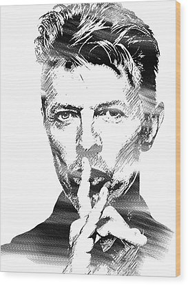David Bowie Bw Wood Print by Mihaela Pater