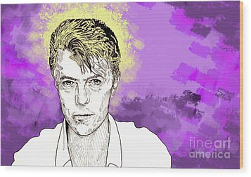 Wood Print featuring the drawing David Bowie by Jason Tricktop Matthews
