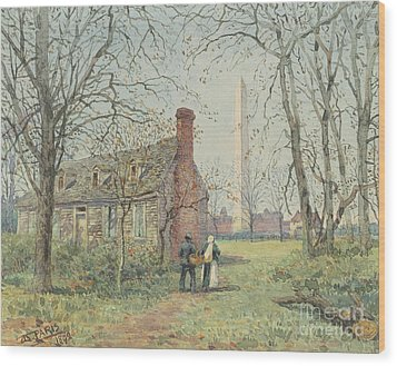 David Burns's Cottage And The Washington Monument, Washington Dc, 1892  Wood Print