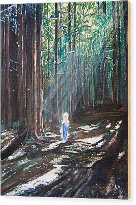 David In The Forest Wood Print