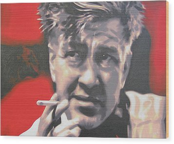 David Lynch Wood Print by Luis Ludzska