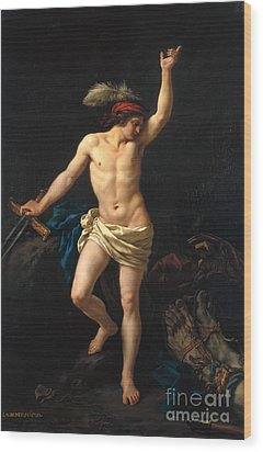 David Victorious Wood Print by Jean Jacques II Lagrenee
