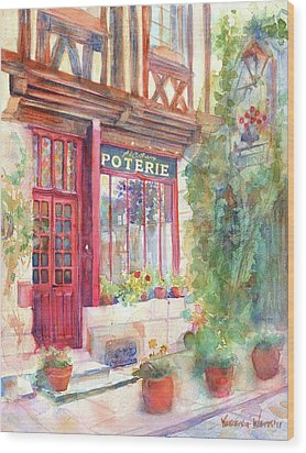 David's Europe 2 - A And C Squire Poterie European Street Scene Watercolor Wood Print by Yevgenia Watts