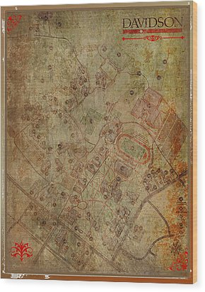 Davidson College Map Wood Print by Paulette B Wright