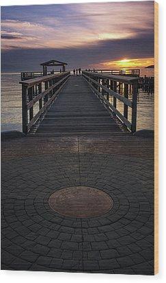 Davis Bay Pier Evening Light Wood Print