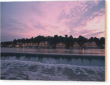 Dawn At Boathouse Row Wood Print by Bill Cannon