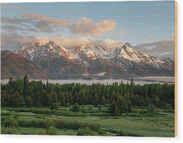 Dawn At Grand Teton National Park Wood Print