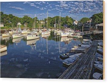 Dawn At Perkins Cove - Maine Wood Print