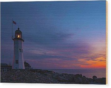 Dawn At Scituate Light Wood Print