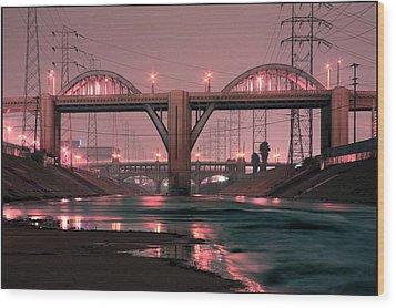 Dawn At The 6th Street Bridge Wood Print by Kevin  Break