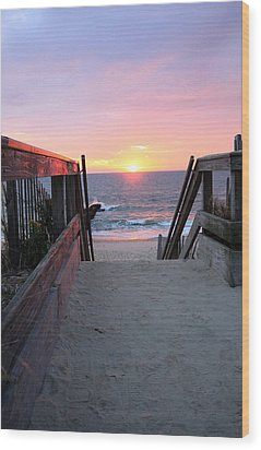 Dawn At The Beach Wood Print by Mary Haber