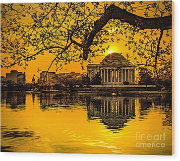 Wood Print featuring the photograph Dawn At The Jefferson Memorial  by Nick Zelinsky