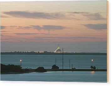 Dawn At The Sunshine Skyway Bridge Viewed From Tierra Verde Florida Wood Print by Mal Bray