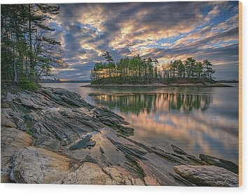 Wood Print featuring the photograph Dawn At Wolfe's Neck Woods by Rick Berk
