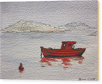 Dawn Fishing Wood Print by Yvonne Ayoub