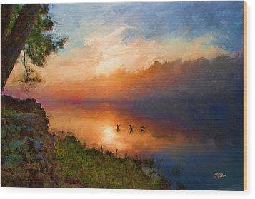 Dawn Flight Wood Print by Shirley Dawson