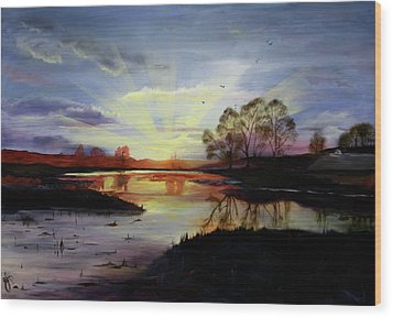 Wood Print featuring the painting Dawn by Jane Autry
