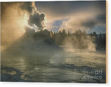 Dawn On Castle Geyser Wood Print by Sandra Bronstein
