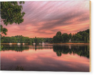 Dawn On The Saco River Wood Print