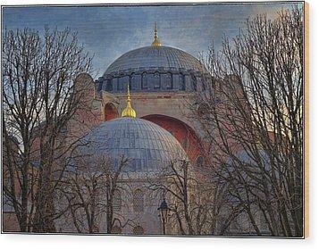 Dawn Over Hagia Sophia Wood Print by Joan Carroll