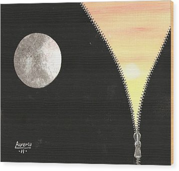 Wood Print featuring the painting Day And Night by Edwin Alverio
