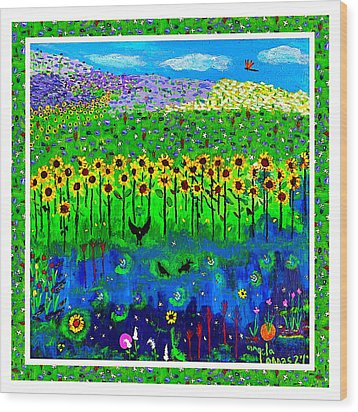Day And Night In A Sunflower Field With Floral Border Wood Print by Angela Annas