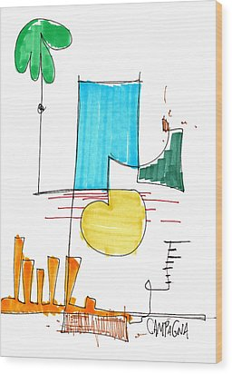 Day At The Beach Wood Print by Teddy Campagna