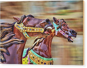Day At The Races Wood Print by Evelina Kremsdorf