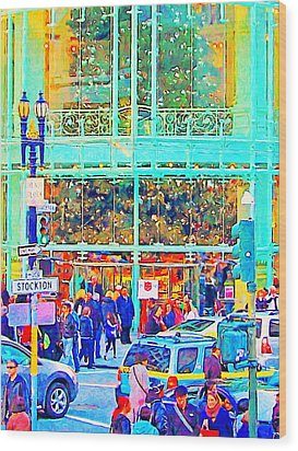 Day Before Christmas At Neiman Marcus . Photoart Wood Print by Wingsdomain Art and Photography
