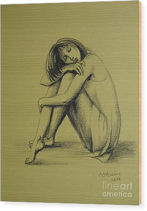 Wood Print featuring the drawing Day Dreaming by Elena Oleniuc