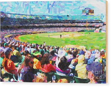 Day Game At The Old Ballpark Wood Print by Wingsdomain Art and Photography