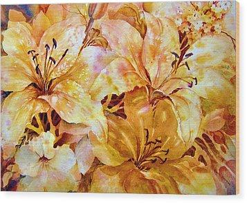 Day-lilies Wood Print by Nancy Newman