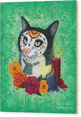 Wood Print featuring the painting Day Of The Dead Cat Candles - Sugar Skull Cat by Carrie Hawks