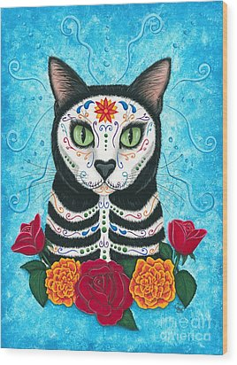 Day Of The Dead Cat - Sugar Skull Cat Wood Print