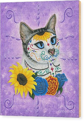 Day Of The Dead Cat Sunflowers - Sugar Skull Cat Wood Print by Carrie Hawks