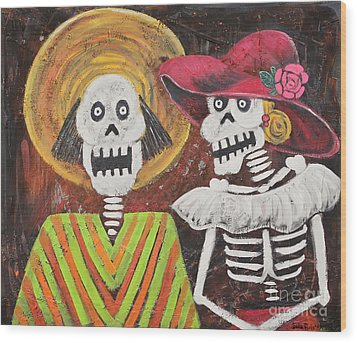 Day Of The Dead Couple Wood Print by Sonia Flores Ruiz