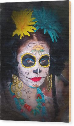 Day Of The Dead Flower Lady Wood Print
