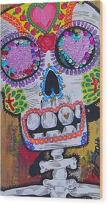 Day Of The Dead Skeleton  Wood Print by Nancy Mitchell