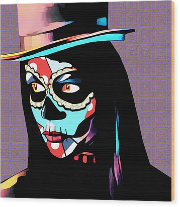 Day Of The Dead Skull Woman Wearing Top Hat Wood Print