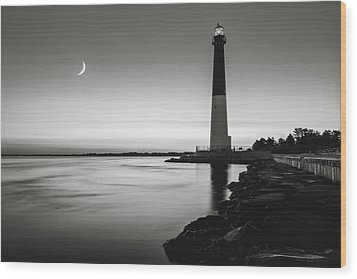 Daybreak At Barnegat, Black And White Wood Print by Eduard Moldoveanu