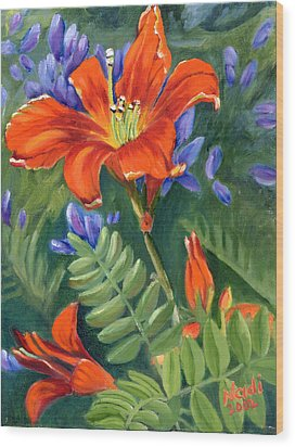 Wood Print featuring the painting Daylilies by Renate Nadi Wesley