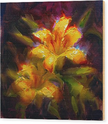 Wood Print featuring the painting Daylily Sunshine - Colorful Tiger Lily/orange Day-lily Floral Still Life  by Karen Whitworth