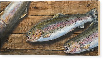 Wood Print featuring the painting Day's Catch by Chad Berglund