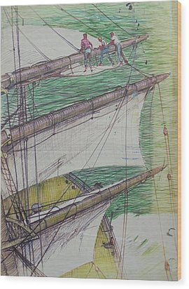 Wood Print featuring the drawing Days Of Sail by Mike Jeffries