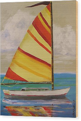 Daysailer By John Williams Wood Print by John Williams